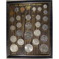 20th CENTURY TYPE SET IN FRAME 28 COINS, NICE