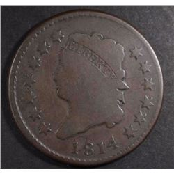 1814 LARGE CENT, VG PERFECT SURFACES