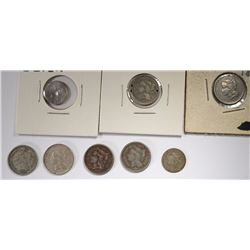 3-CENT PIECES, 1881, 2-67, 2-66, 65, 52 & 56