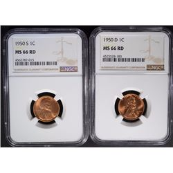1950-S & 1950-D LINCOLN CENTS NGC MS66 RD