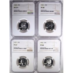 NGC PROOF QTR LOT; 1960 PF67 *, 1961 PF68,