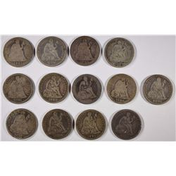13pc LIBERTY SEATED DIMES, with 1875-CC CIRC