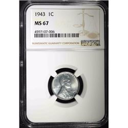 1943 LINCOLN CENT NGC MS67! SUPERB!