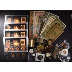 BIG BAG LOT: JEWELRY, COINS, CURRENCY, 1982 1c SET