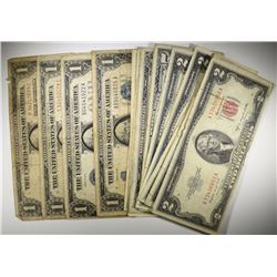 CURRENCY: 5- $1 SILVER CERTS; 2-$5 NOTES RED SEAL;