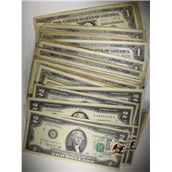 CURRENCY: 6-1976 $2; 95-$1 SILVER CERTS 1957 &