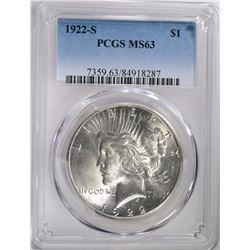 1922-S PEACE DOLLAR PCGS MS-63 BLAST WHITE