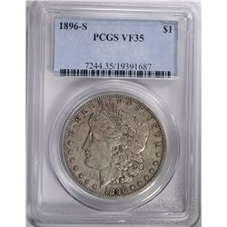 1896-S MORGAN DOLLAR PCGS VF-35