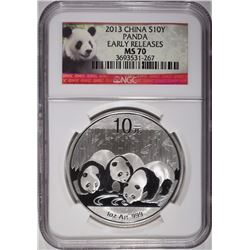 2013 CHINESE SILVER PANDA NGC MS-70 EARLY RELEASES