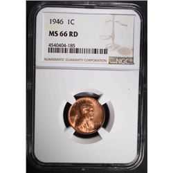 1946 LINCOLN CENT, NGC MS-66 RED
