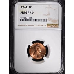 1974 LINCOLN CENT, NGC MS-67 RED