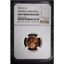 1951-D MINT ERROR LINCOLN CENT, NGC MS-66 RED