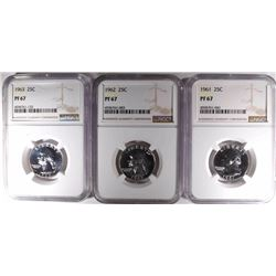 1961, 62, & 63 WASHINGTON QUARTERS, NGC PF-67