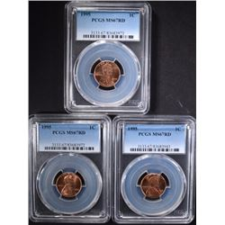 3- 1995 LINCOLN CENT PCGS MS-67RD