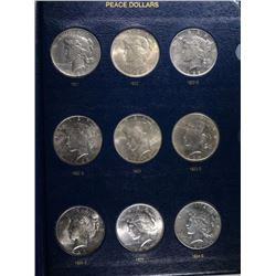 COMPLETE SET OF PEACE DOLLARS RANGE FROM XF-BU