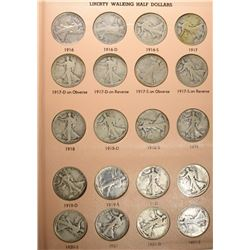 NICE SET WALKING LIBERTY HALVES IN DASCO ALBUM