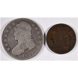 1829 BUST HALF -GOOD & 1809 HALF CENT-GOOD
