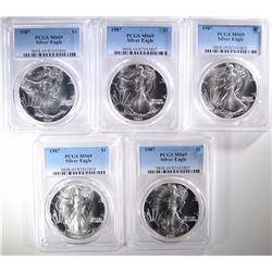 5-1987 AMERICAN SILVER EAGLES, PCGS MS-69