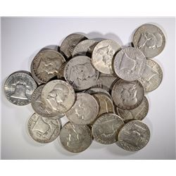 24 CIRC MIXED DATE FRANKLIN HALF DOLLARS