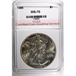 1986 AMERICAN SILVER EAGLE, CCGS PERFECT GEM BU