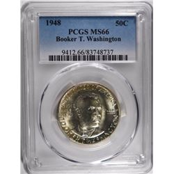 1948 BOOKER T WASHINGTON HALF DOLLAR PCGS MS-66