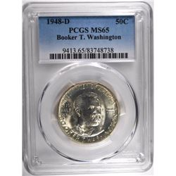 1948-D BOOKER T WASHINGTON HALF DOLLAR, PCGS MS-65