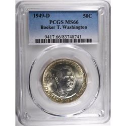 1949-D BOOKER T WASHINGTON HALF DOLLAR, PCGS MS-66