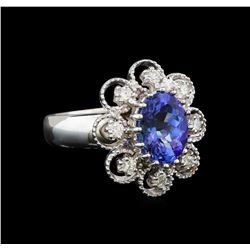 14KT White Gold 1.73 ctw Tanzanite and Diamond Ring