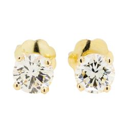 0.60 ctw Diamond Earrings - 14KT Yellow Gold