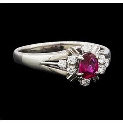 0.34 ctw Ruby and Diamond Ring - Platinum