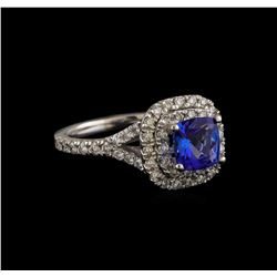 14KT White Gold 1.25 ctw Tanzanite and Diamond Ring