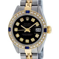 Rolex Ladies 2T Black Diamond And Sapphire Datejust Wristwatch
