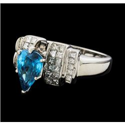 3.27 ctw Blue Zircon and Diamond Ring - 14KT White Gold