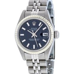 Rolex Stainless Steel Blue Index DateJust Ladies Watch