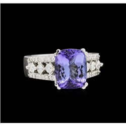 4.36 ctw Tanzanite and Diamond Ring - 14KT White Gold