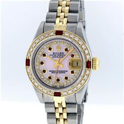 Rolex Two-Tone Pink MOP Ruby String Diamond DateJust Ladies Watch