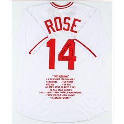Cincinnati Reds Pete Rose Autographed Jersey With Stats