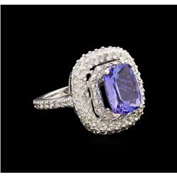 14KT White Gold 3.18 ctw Tanzanite and Diamond Ring