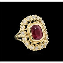 3.57 ctw Ruby and Diamond Ring - 14KT Yellow Gold