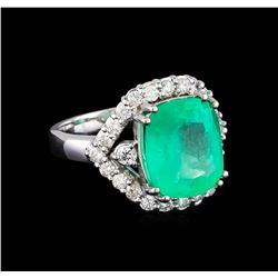 6.40 ctw Emerald and Diamond Ring - 14KT White Gold