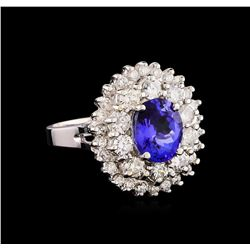 14KT White Gold 2.38 ctw Tanzanite and Diamond Ring