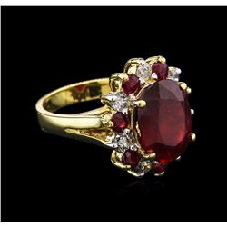 8.73 ctw Ruby and Diamond Ring - 14KT Yellow Gold