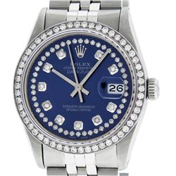 Rolex Mens 36mm Stainless Steel Blue String Diamond Datejust Wristwatch