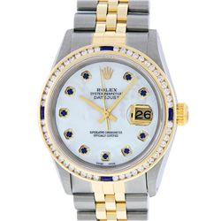 Rolex Mens Two Tone MOP Sapphire & Diamond Channel Set Datejust Wristwatch