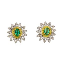 0.64 ctw Emerald and Diamond Earrings - 18KT White and Yellow Gold