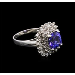2.80 ctw Tanzanite and Diamond Ring - 14KT White Gold