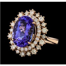 7.22 ctw Tanzanite and Diamond Ring - 14KT Rose Gold