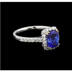 14KT White Gold 1.71 ctw Tanzanite and Diamond Ring