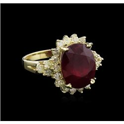 8.17 ctw Ruby and Diamond Ring - 14KT Yellow Gold