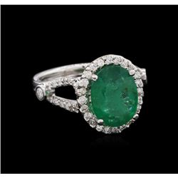 3.00 ctw Emerald and Diamond Ring - 14KT White Gold